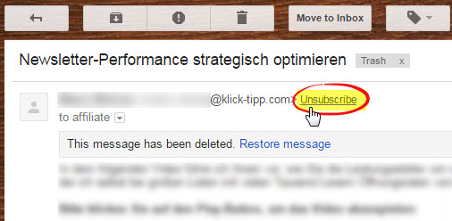 List Unsubscribe Attribut in Gmail bei Klick-Tipp