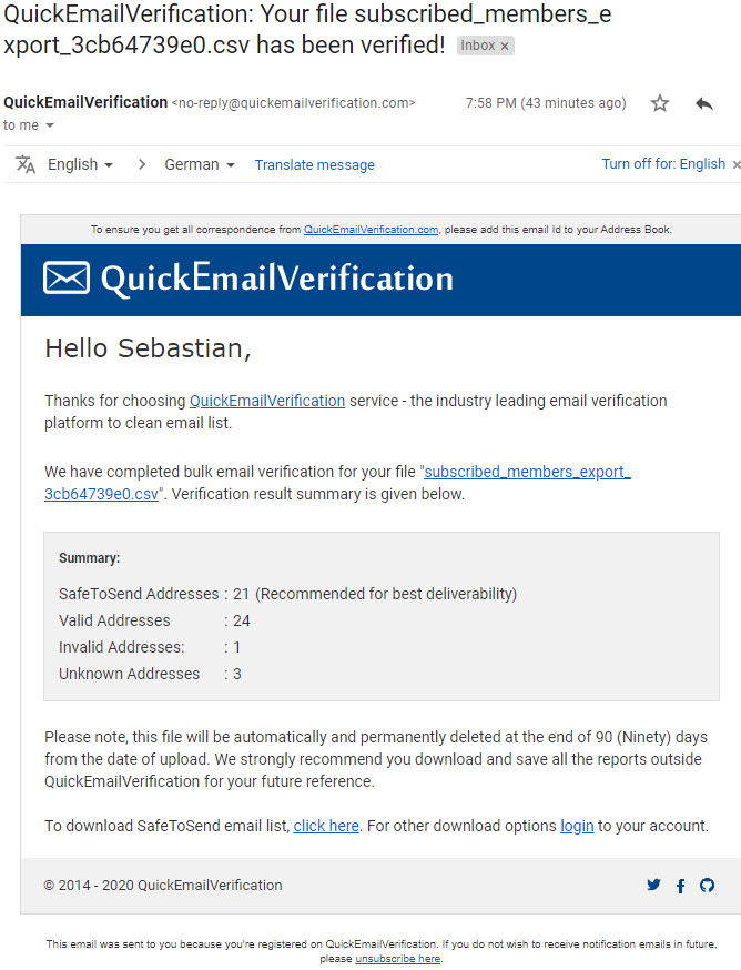 Quick E-Mail Verification Email