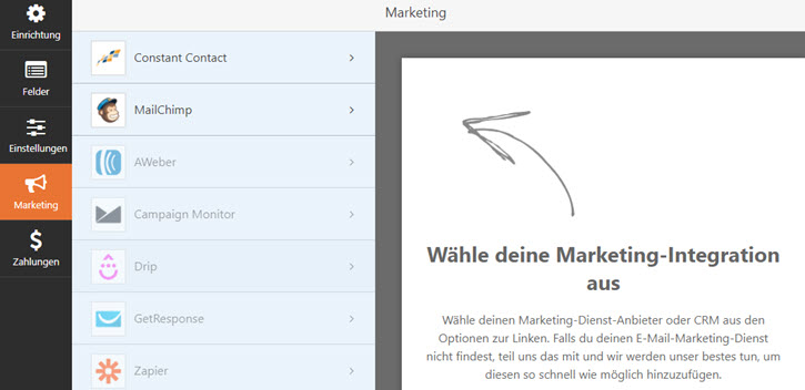 WPforms Marketing Integration wählen