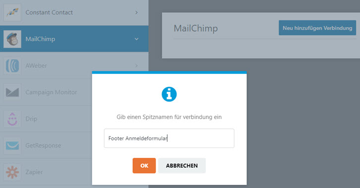 WPforms Integration benennen