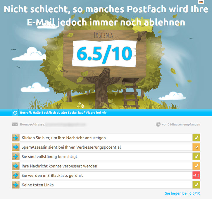 mail-tester normales Testergebnis 6.5