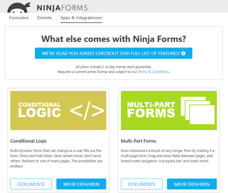 Ninjaforms Apps & Integrationen