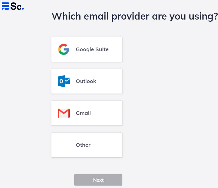 Scribe Mail Auswahl E-Mail Provider